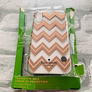 Kate Spade iPhone X case champagne gold stripes